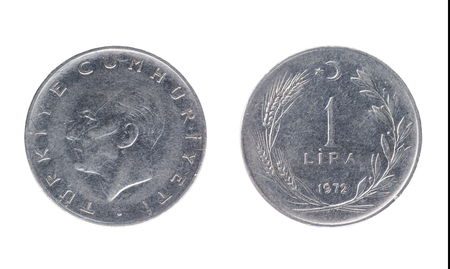 Set of commemorative the Turkish coin, the nominal value of 1 lira, from 1972. Isolate on white background Stock Photo