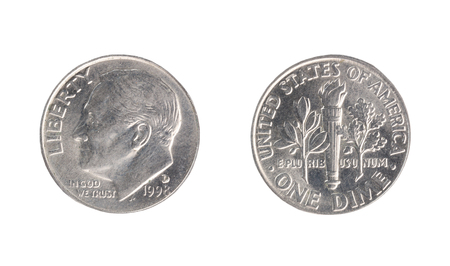 Set of commemorative the USA coin, the nominal value of 1 dime, from 1998. Isolate on white background