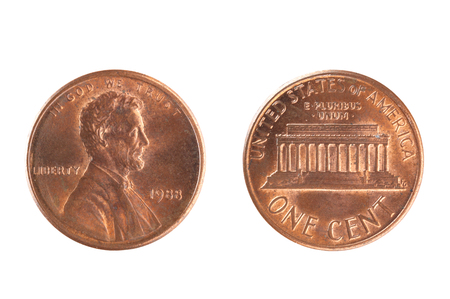 Set of commemorative the USA coin, the nominal value of 1 cent, from 1988. Isolate on white background Stock Photo