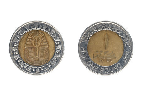 One Egyptian pound coin. Isolate on white background
