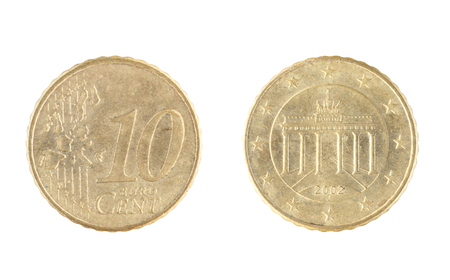 Set of commemorative the coin, the nominal value of 10 euro cent, from 2002. Isolate on white background Stock Photo