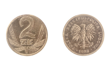 Set of commemorative the Poland coin, the nominal value of 2 zloty 1985. Isolate on white background