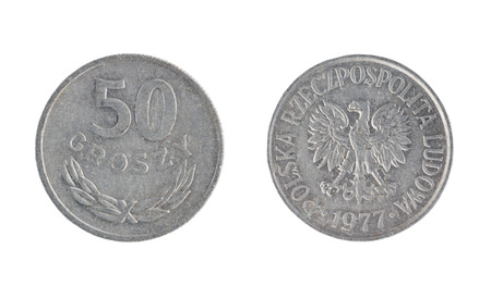 Set of commemorative the Poland coin, the nominal value of 50 groszy, from 1977. Isolate on white background Stock Photo