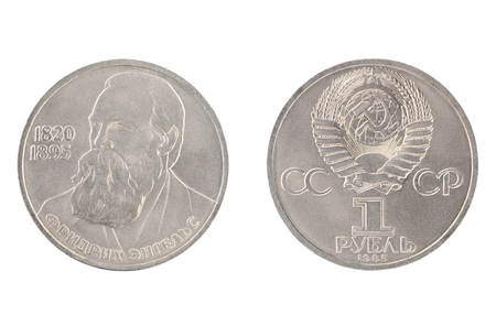 Set of commemorative the USSR coin, the nominal value of 1 ruble.from 1985, shows Friedrich Engels 1820-1895, german socialist and political philosopher. Isolate on white background Stock Photo