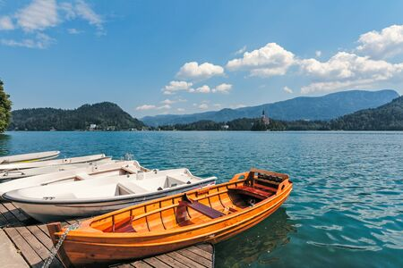 Boat moorage on the shores of Lake Bled