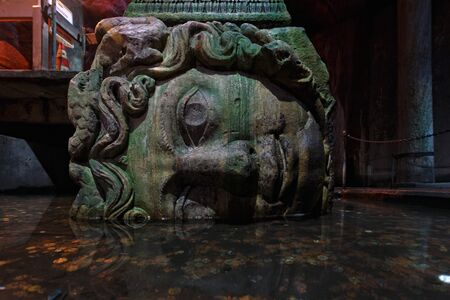 ISTANBUL, TURKEY, JANUARY 6, 2015: Medusa columns base inside Basilica Cistern