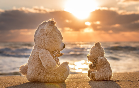 fluff: Teddy bears sitting on the beautiful beach with love. Concept about love and relationship. Stock Photo