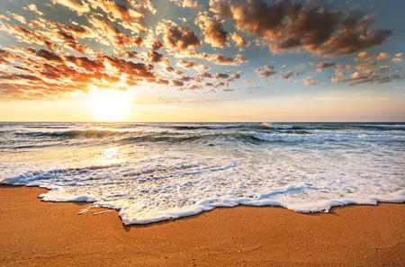 Brilliant ocean beach sunrise. 免版税图像 - 49135907