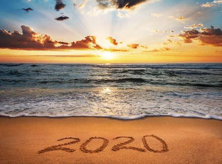 Happy New Year 2020! Written 2020 on the beach.