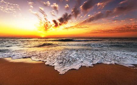 Sunrise horizon sea water landscape.