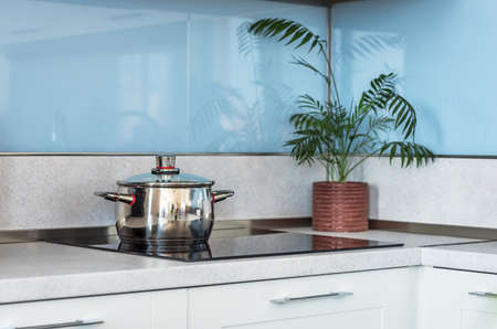 Stainless steel pot on induction electric hob. Foto de archivo