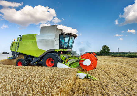 Dobrich, Bulgaria - JULY 13, 2017: Claas Lexion 660 combine harvester on display at the annual Nairn Farmers Show on July 13, 2017 in Dobrich, Bulagria.