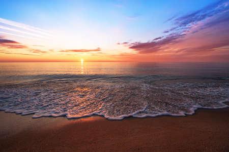 Beautiful sunrise over the tropical beach.