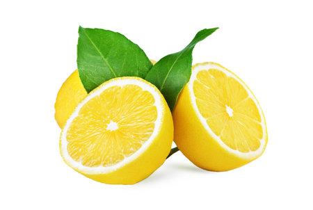 Fresh lemon fruit isolated on white background! Stock fotó