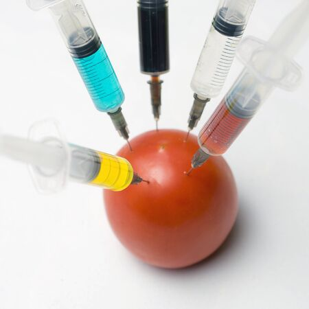 Modified tomato with syringe on a white background