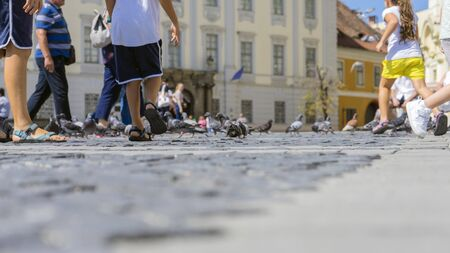 Summer in the city, old cobbled street. View at the sidewalk.
