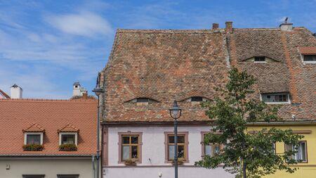 Roof in Old Town of Sibiu. Sibiu, Sibiu County, Romania Stock Photo