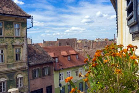 Sibiu, Transylvania region. Architecture of an old european city. Center of Sibiu. Top view