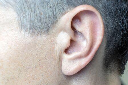 Closeup photo of a perfect human ear. Stock Photo