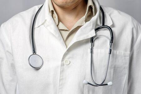 doctor man lab white coat close up.