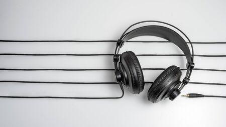 music studio background with dj headphones Stock Photo