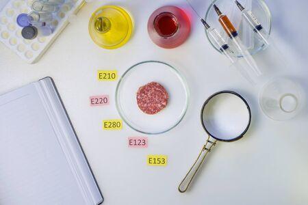 Foto Konzept der gesunden Ernährung. Auf dem Labortisch liegt eine Lupe, ein Stück Wurst ist mit Tafeln mit den Namen der Zusatzstoffe von E. Food Laboratory verziert.