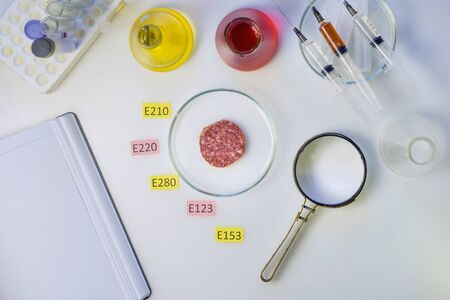 Photo Healthy eating concept. A magnifier is on the laboratory s table, a piece of sausage is decorated with tablets with the names of additives of E. Food Laboratory.