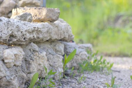 Breakstone background. Road gravel. Gravel texture. Crushed Gravel background. Piles of limestone rocks.