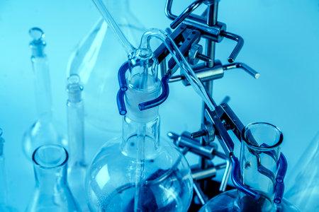Empty flasks. Laboratory analysis equipment. Chemical laboratory, glassware test-tubes.