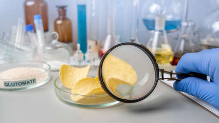 Food safety expert holding magnifying in hands checking potato chips in the laboratory