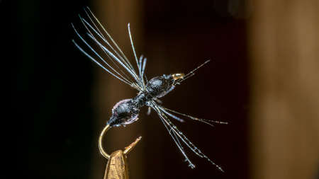 Photo Imitation of ant. Handmade fishing fly tied close-up on a dark background.