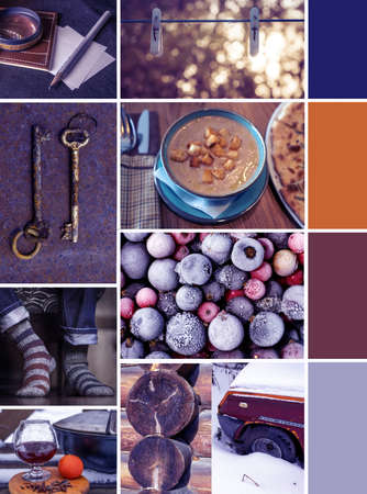 Photo Creative colorful winter mood mood board with frozen berries, warm socks and hot drink with winter sun. Inspirational color gradients in browns, blues and yellows.