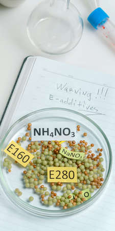 Unhealthy food: Chemical Food Additive Research Laboratory. Top view.
