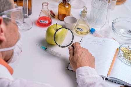 Food specialist looking at green apple through magnifying glass