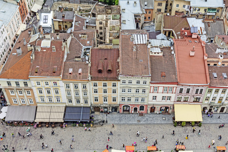 lvov: Historical center of Lviv  Lvov in western Ukraine. Panoramic view of the city in Europe
