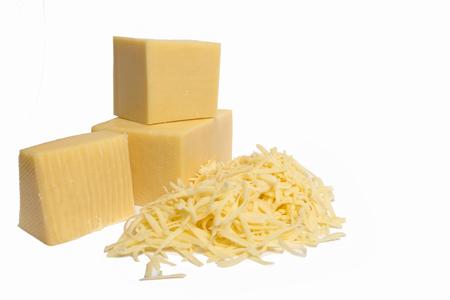 pezzo di formaggio isolato su sfondo bianco Archivio Fotografico