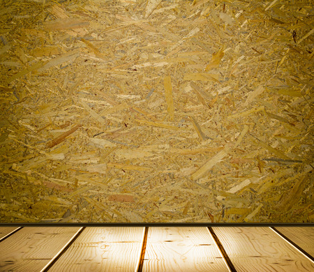 interior dark room illuminated by is used as a background wall with OSB