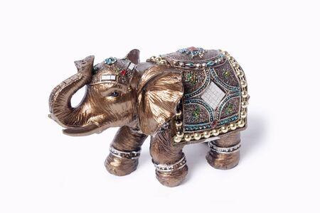 onyx: Elephant figurine from onyx on a white background