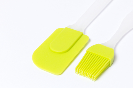 Pastry silicone set (spatula and brush) over white background Stock Photo