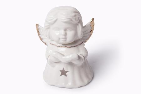 universal healer: Beautiful white angel on a white background Stock Photo