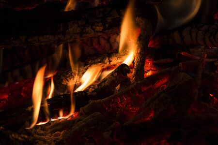 conflagrant: on a fire in a fire-place it is possible to look infinitely, enjoying his heat and crackle of firewoods, nothing creates a comfort, as conflagrant fire so Stock Photo