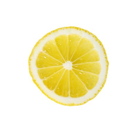 Single cross section of lemon. Isolated on white background. Close-up. Studio photography. Stock Photo