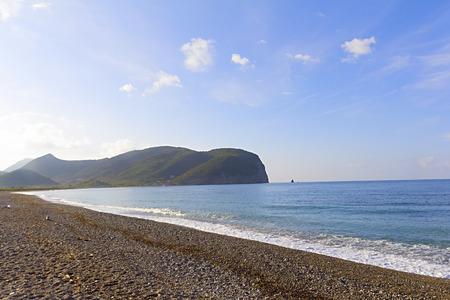 Breathtaking picturesque view on Buljarica Beach in Montenegro Imagens