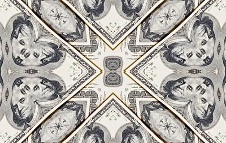 dinero falso: Background from a variety of hundred-dollar bills. Money money. Dollars background. Counterfeit money. Kaleidoscope.