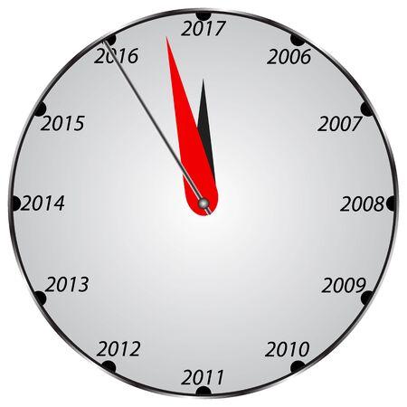 12 o clock: three dimensional clock showing New Year 2017 at 12 o clock