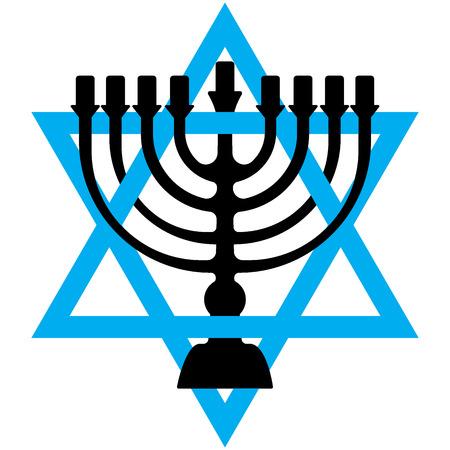 Menorah for Hanukkah, Vector illustration. Religion icon. Silhouette Flat style Illustration