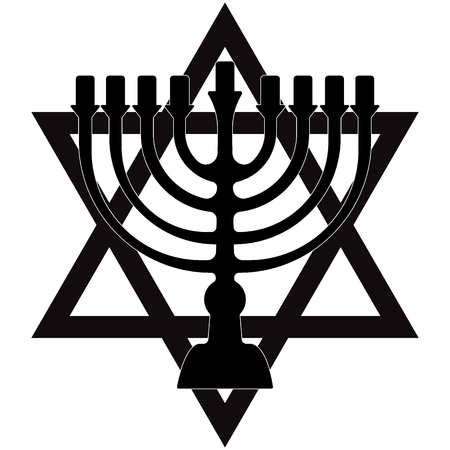 Menorah for Hanukkah, Vector illustration. Religion icon. Silhouette Flat style Illustration
