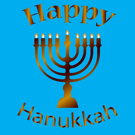 Hanukkah Typographic Vector Design - Happy Hanukkah. Jewish holiday. Hanukkah Menorah on Light Blue Background