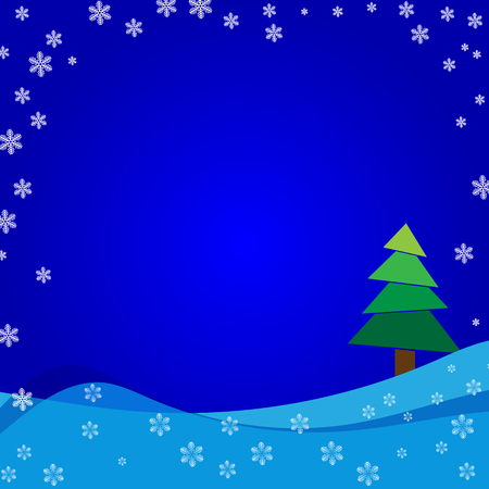 Happy New Year 2017 on winter background with snow and snowflakes. Illustration