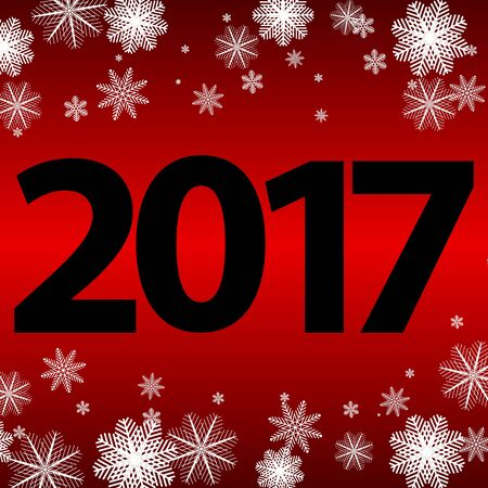 Christmas card with black lettering on a red background New Year